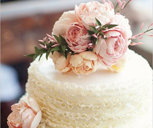 cake, flowers, and rose image