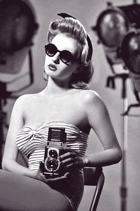 vintage, black and white, and camera image