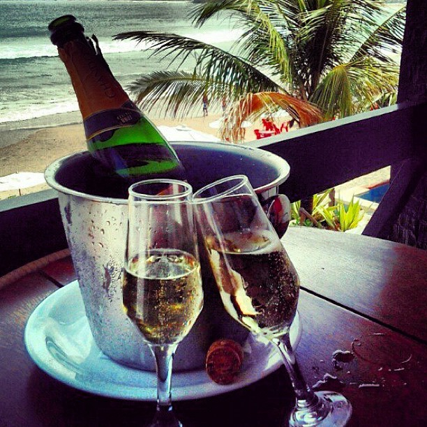 champagne, beach, and drink image