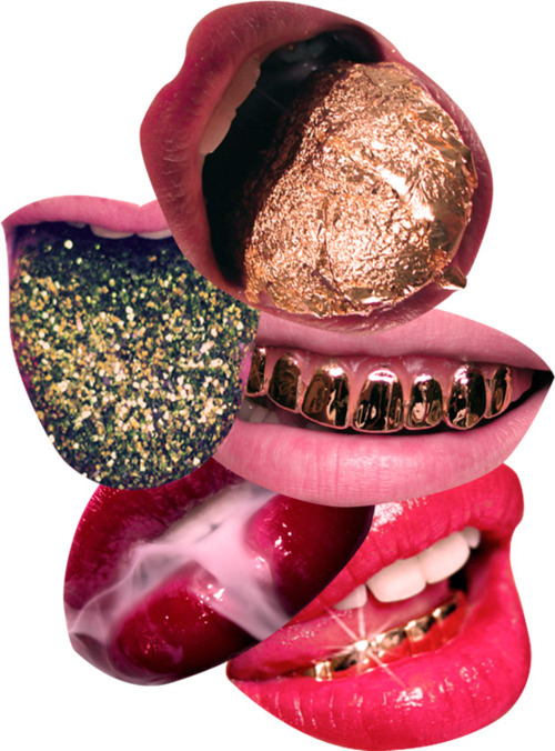 lips, gold, and mouth image