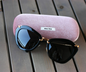 sunglasses, miu miu, and black image