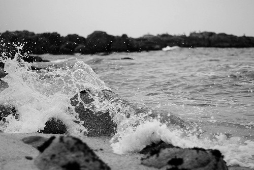 black and white, ocean, and photography image