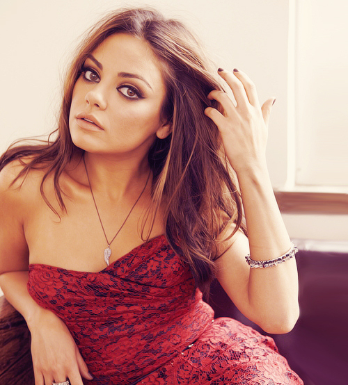 Mila Kunis and red image