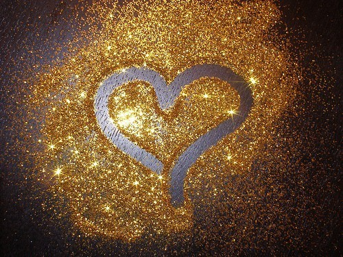 heart, glitter, and gold image