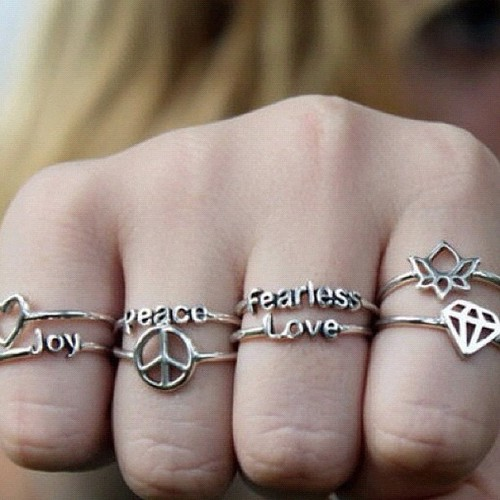 rings, peace, and love image