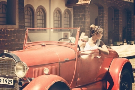car, girl, and pink image
