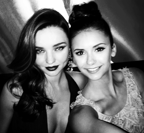 Nina Dobrev, miranda kerr, and black and white image