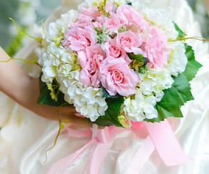 Outstanding White Rose Cloth Wedding Bridal Bouquet with Pink Ribbon : Tidebuy.com