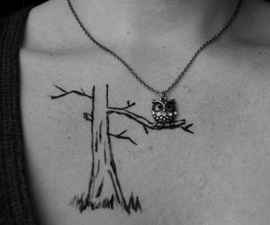 owl, tattoo, and tree image