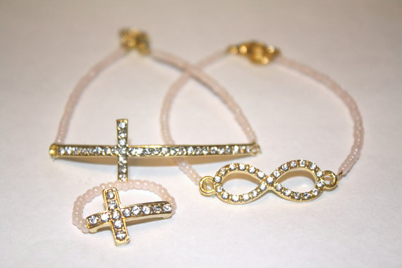 beaded, bracelet, and cross image