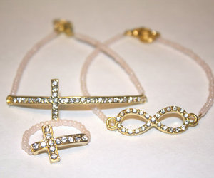Gold Sideways Cross Infinity Rhinestone set by BlancCommeLaNeige