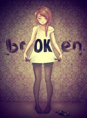 broken, ok, and sad image