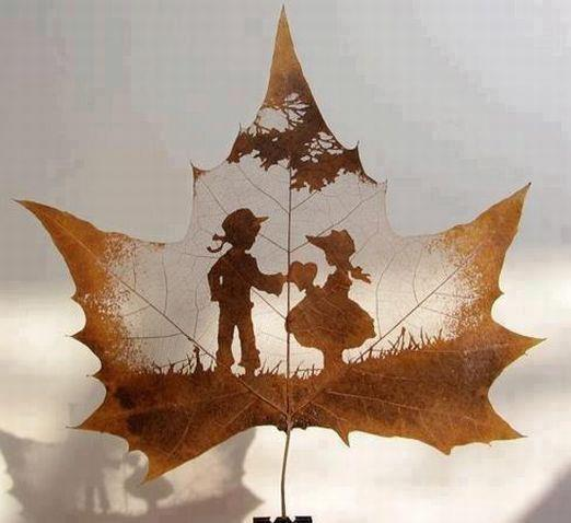 love, leaves, and couple image