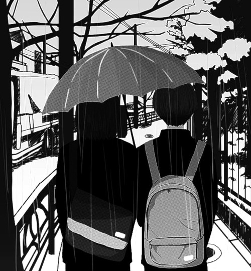 anime, couple, and black and white image