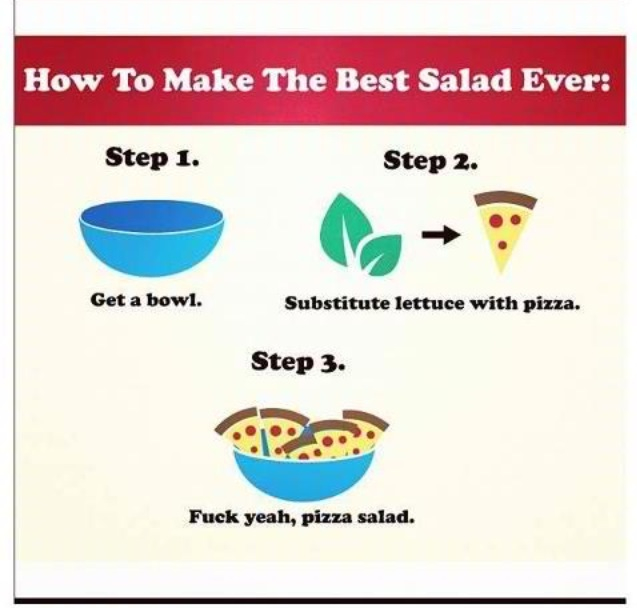 pizza, salad, and funny image