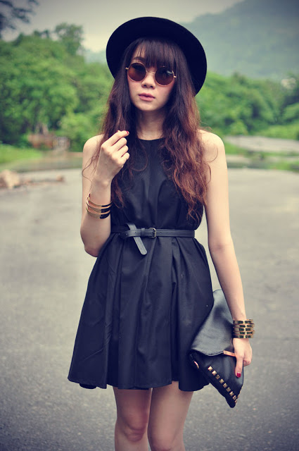 black hat, dress, and fashion image