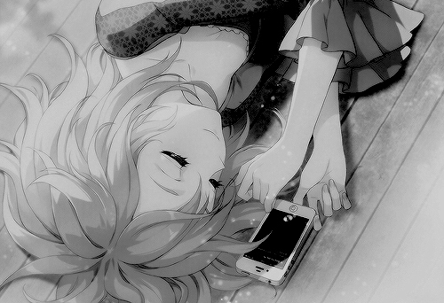 anime, phone, and black and white image