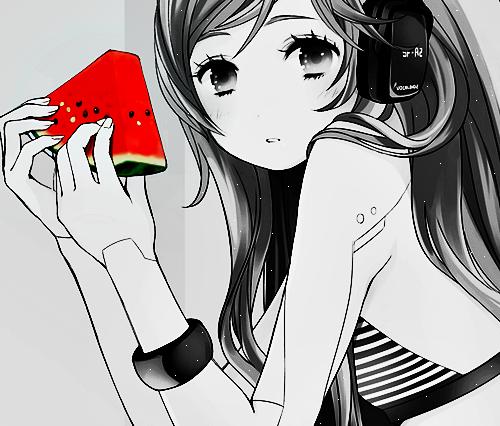 anime, watermelon, and anime girl image