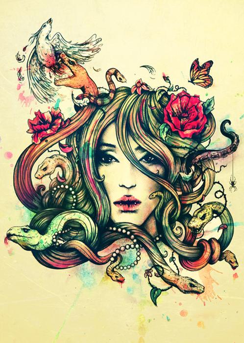 art, medusa, and illustration image
