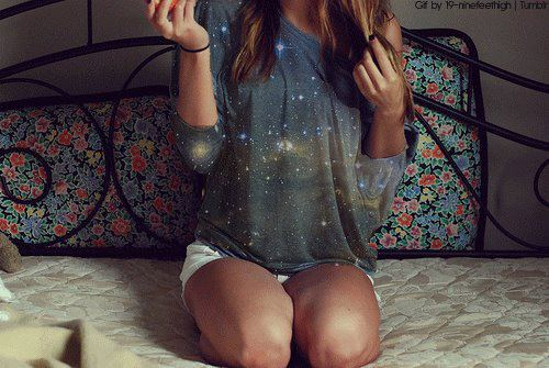 girl, bed, and galaxy image