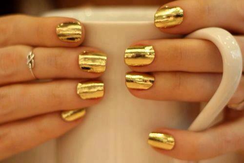 nails, gold, and ring image