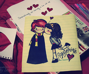 love, harry potter, and hermione image