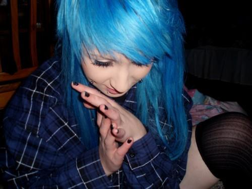 girl, blue hair, and piercing image