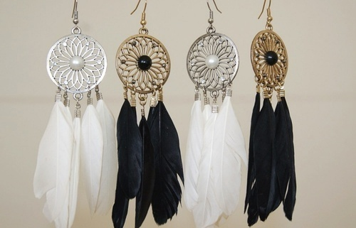 earrings, feather, and black image