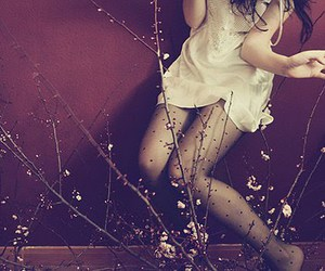 girl, flowers, and tights image