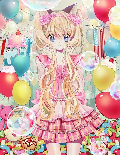 anime, kawaii, and balloons image