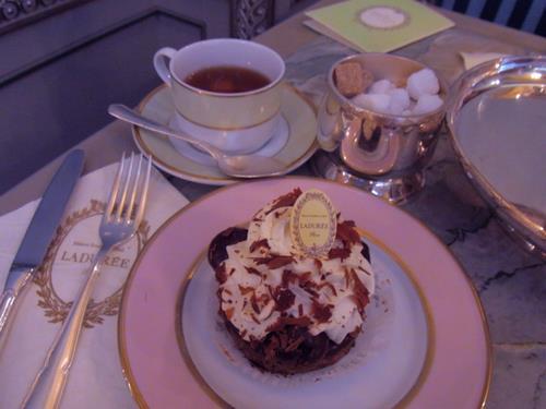 cake, laduree, and tea image