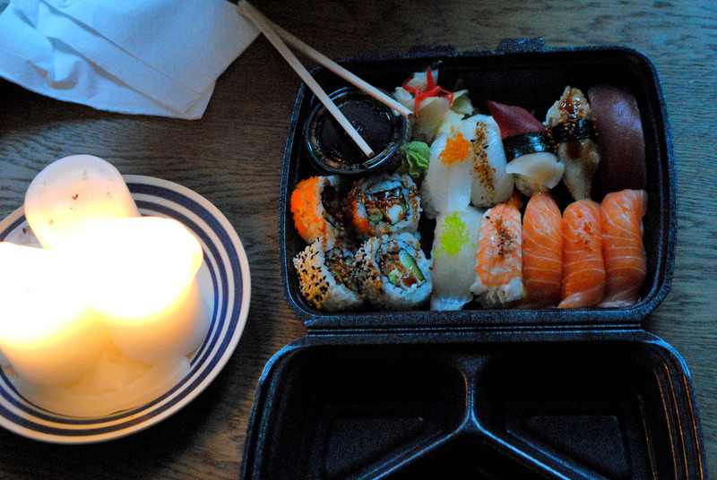candle, fish, and food image