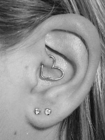 piercing, heart, and ear image