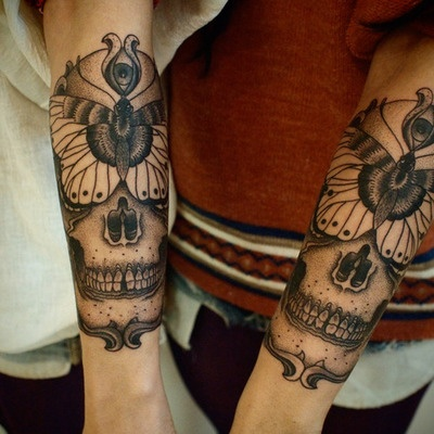 tattoo, skull, and ink image