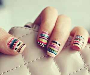 nails, nail art, and aztec image