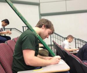 funny picture, lecture hall giant pencil, and giant pencil class image
