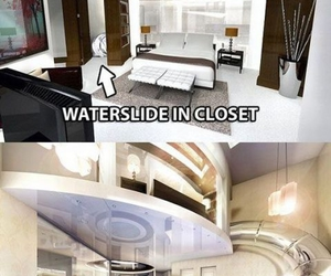 waterslide, pool, and bedroom image