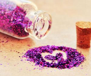 glitter, purple, and heart image