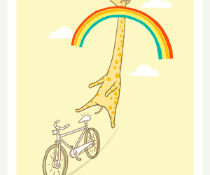 rainbow, giraffe, and cute image