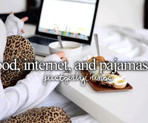 food, internet, and pajamas image
