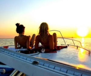 summer, girl, and sunset image