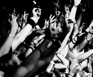 party, black and white, and concert image