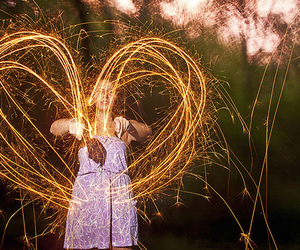 girl, heart, and fireworks image