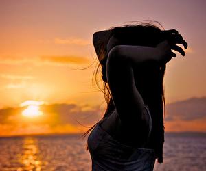girl, sunset, and sea image