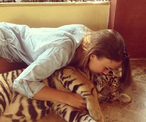 girl, tiger, and animal image
