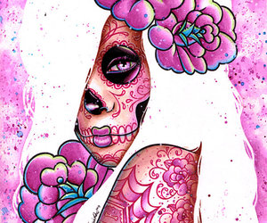art, day of the dead, and flowers image