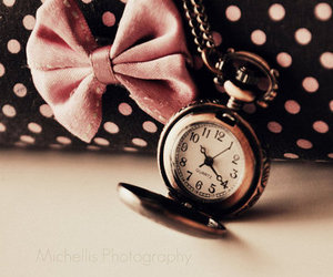 clock, bow, and vintage image