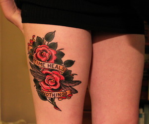 tattoo, rose, and time image