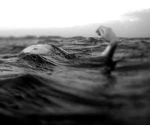 water, black and white, and drowning image