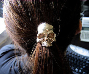 brunette, hair, and skull image